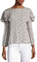 Rebecca Taylor Sweet Briar Long-Sleeve Button-Back Blouse, Multi