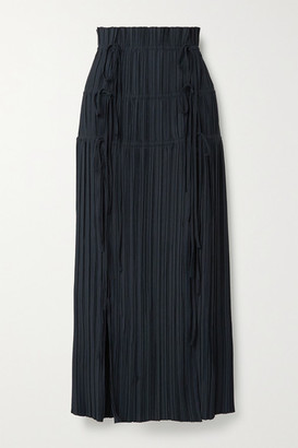 Dion Lee Tie-detailed Plisse-crepe Maxi Skirt - Midnight blue