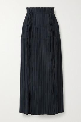 Dion Lee Tie-detailed Plisse-crepe Maxi Skirt