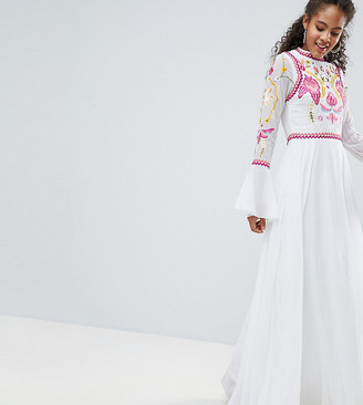 Asos Frock And Frill Tall Embellished Top Pleated Maxi Dress-White