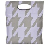 Houndstooth Cutout Tote - Purple