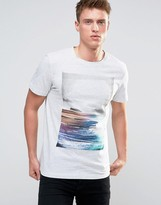 Esprit T-shirt with Graphic Print and Melange Detail