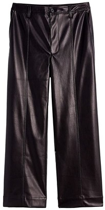 Madewell Slim Emmett Pants in Faux Leather (True Black) Women's Casual Pants