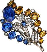 One Kings Lane Vintage Deep Blue & Topaz Faceted Glass Brooch