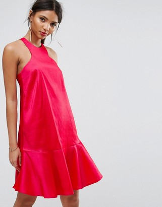 Asos Y.A.S Studio Dress With Fluted Hem-Pink