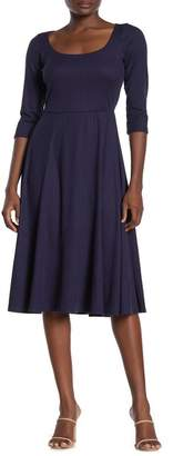 SUPERFOXX Ribbed 3/4 Sleeve Scoop Neck Midi Dress