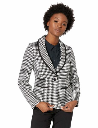 Kasper Women's Petite 1 Button Shawl Collar Houndstooth Jacket with Black Piping