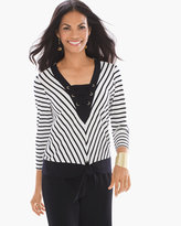 Chico's Striped Tie-Front Top