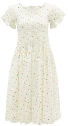 Molly Goddard Tilly Hand-smocked Floral-print Cotton Dress - Cream Print