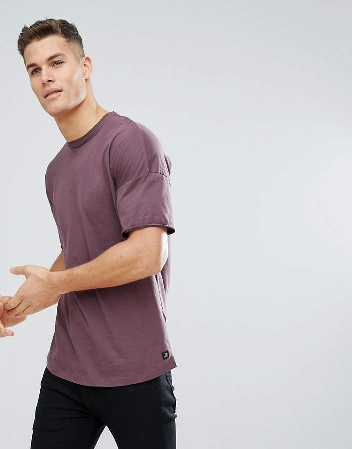 Tom Tailor Boxy Fit T-Shirt With Dropped Shoulder In Purple