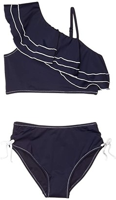 Habitual Byanca Ruffle Off Shoulder Two-Piece (Big Kids) (Navy) Girl's Swimwear Sets