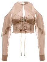 Fenty Puma by Rihanna Mesh Bustier Top w/Chiffon Sleeves, Beige