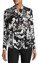 Alice + Olivia Belle Metallic Floral Mandarin-Collar Shirt, Black/Silver