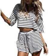 Romacci Summer Stripe Shorts Jumpsuit Romper 2 Pieces Set Beach Playsuit Rompers Outfits s-xl