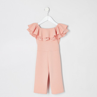 River Island Mini girls pink bardot ruffle jumpsuit