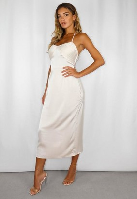 Missguided Stone Tie Neck Ruched Midi Dress