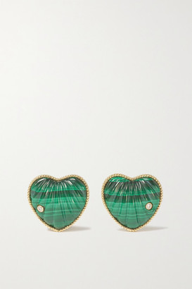 Yvonne Léon 9-karat Gold, Malachite And Diamond Earrings - one size