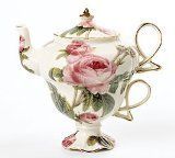 Toy Zany Elegant Romantic Rose Victorian Porcelain Teapot And Teacup Duo Beautiful Gift Item