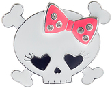 Carole White & Pink Bow Skull Pin
