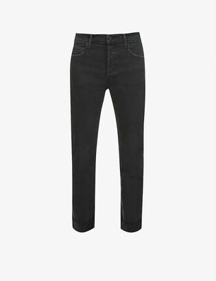 Mother The Scrapper Cuff straight-leg high-rise stretch-denim jeans
