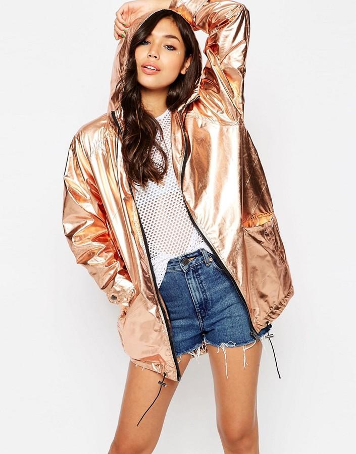 Asos Rain Trench In Rose Gold Metallic