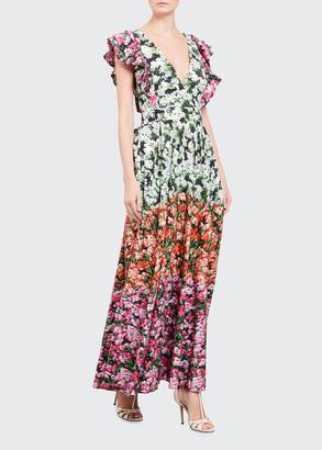 Mary Katrantzou Ruffled Floral-Print Dress