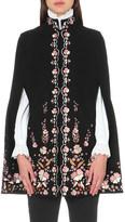 Vilshenko Erin floral-embroidered wool-blend cape