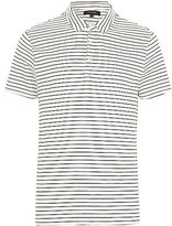 River Island MensWhite fine stripe short sleeve polo shirt