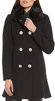Kate Spade Double Breasted Fit-and-Flare Faux-Fur Collar Wool Coat