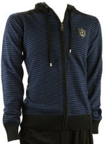 Ed Hardy Mens Tiger Emblem Striped Zip Up Hoodie Sweater-Blue