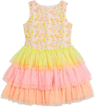 Charabia Girl's Multicolor Floral Lace Embroidered Tiered Tulle Dress, Size 4-5