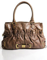 Botkier Beige Leather Gold Tone Textured Large Satchel Bag