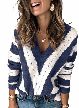 Modasua Womens Jumper Casual Striped Color Block Knitted Pullover Tops