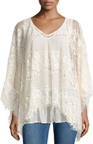 Romeo & Juliet Couture Crochet Poncho W/ Fringe Trim, Ivory