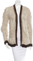 Chanel Chain-Link Trimmed Open-Knit Cardigan