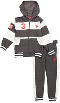 U.S. Polo Assn. Heather Gray & White Hoodie & Sweatpants - Boys