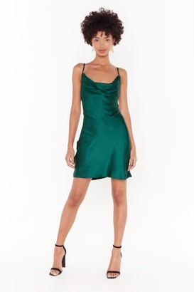 Nasty Gal Womens Cowl Neck Satin Dress with Adjustable Straps - Dark Green