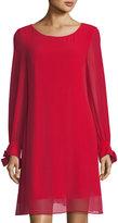 Neiman Marcus Long-Sleeve Bow-Cuff A-line Dress