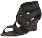 Manolo Blahnik Glassa Strappy Metallic Cork Wedge Sandal