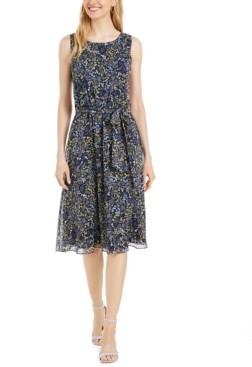 MSK Petite Printed Chiffon Tie-Belted Dress