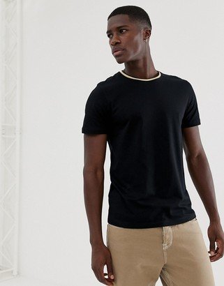 Selected t-shirt with sport ringer neck-Black