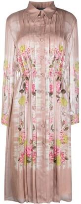 Alberta Ferretti Floral-Print Plisse Dress