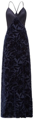 Galvan Winter Jungle Floral-devore And Satin Gown - Navy