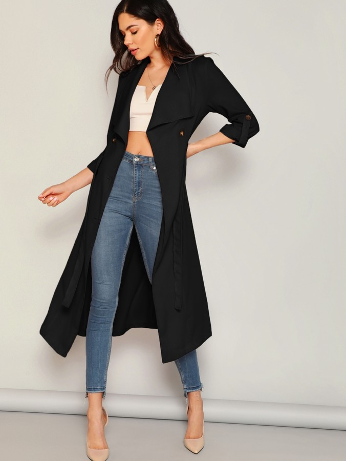 Shein Draped Collar Double Breasted Belted Coat
