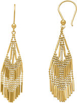 FINE JEWELRY 14K Yellow Gold Diamond-Cut Beaded Mesh Drop Earrings