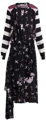 Preen Line Sora Floral And Stripe-print Asymmetric Dress - Black Multi