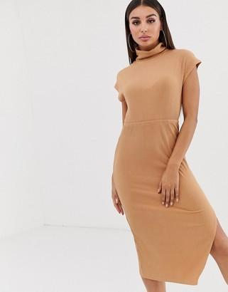 Asos Design DESIGN midi rib dress with high neck-Beige