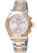 Salvatore Ferragamo 40.5mm 1898 Men's Two-Tone Chronograph Bracelet Watch, Silver/Gold