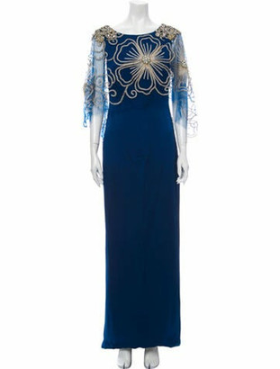 Marchesa Scoop Neck Long Dress Blue