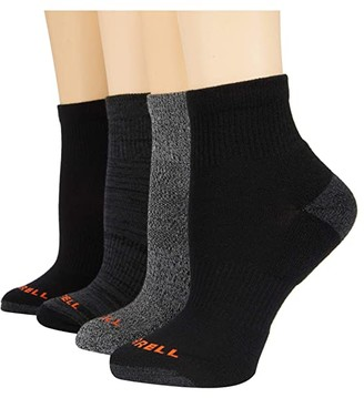 Merrell Midweight Cushion Ankle Quarter Socks 4-Pair (Black) Crew Cut Socks Shoes
